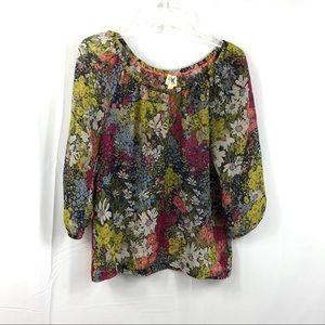 Edme & Esyllte Floral Silk 3/4 Sleeve Top Size XS